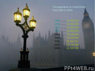 The population of Great Britain from 1900 to 2009: Year Number (person)