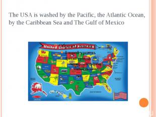 The USA is washed by the Pacific, the Atlantic Ocean, by the Caribbean Sea and T