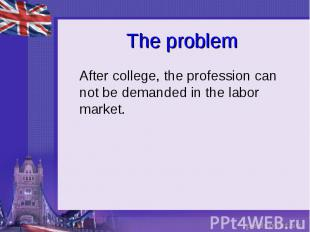 The problem After college, the profession can not be demanded in the labor marke