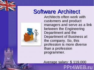 Software Architect Architects often work with customers and product managers and