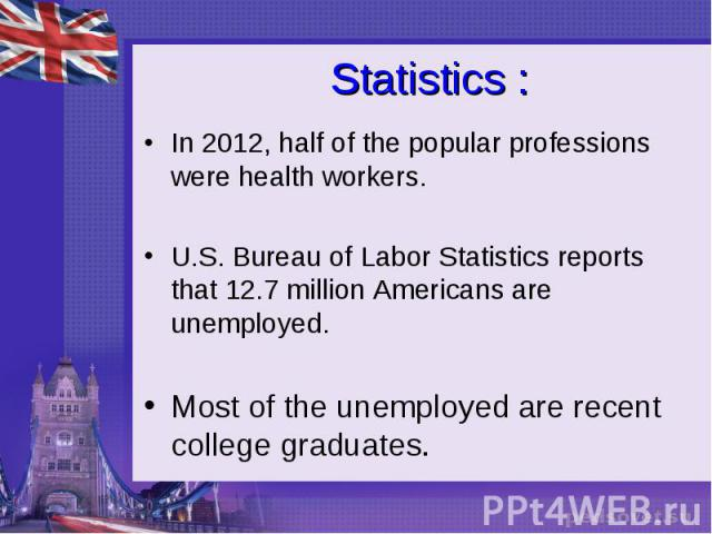 Statistics : In 2012, half of the popular professions were health workers. U.S. Bureau of Labor Statistics reports that 12.7 million Americans are unemployed. Most of the unemployed are recent college graduates.