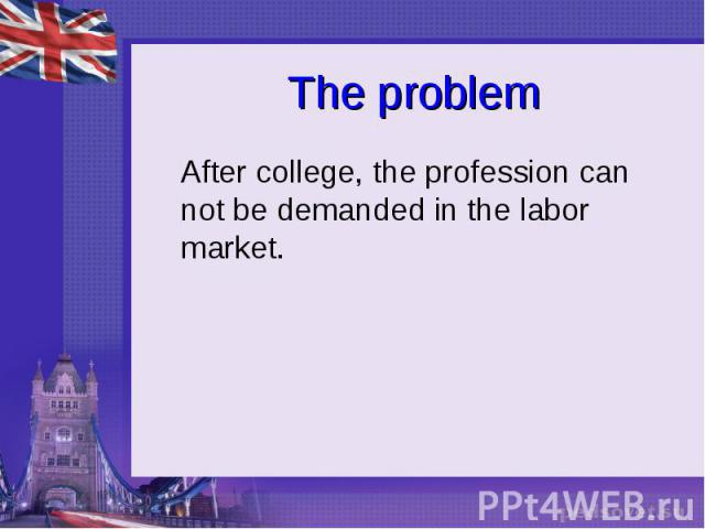 The problem After college, the profession can not be demanded in the labor market.