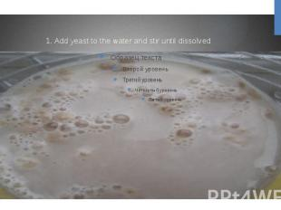 1. Add yeast to the water and stir until dissolved