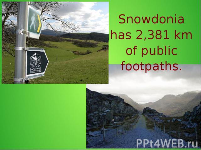 Snowdonia has 2,381 km of public footpaths.