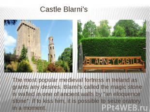 Castle Blarni's The most popular medieval fortress in Ireland as grants any desi
