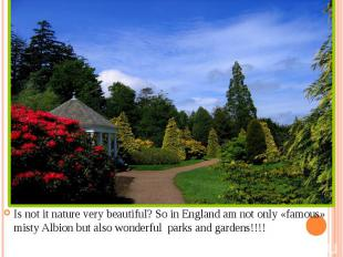 Is not it nature very beautiful? So in England am not only «famous» misty Albion