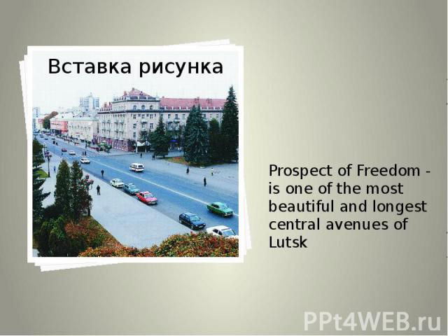 Prospect of Freedom - is one of the most beautiful and longest central avenues of Lutsk Prospect of Freedom - is one of the most beautiful and longest central avenues of Lutsk