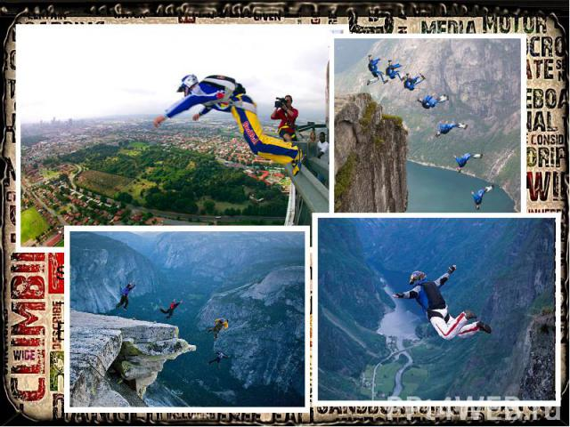 """BASE jumping BASE Jumping:is very extreme activity that includes a parachute (can be used both parachute and wingsuit) to jump from fixed objects, with unopened parachute like skydiving. The acronym """"B.A.S.E."""" stands for: Building, Antenna, Span, Ea…"""