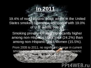 In 2011 19.4% of non-Hispanic black adults in the United States smoked cigarette