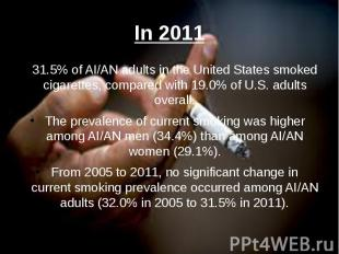In 2011 31.5% of AI/AN adults in the United States smoked cigarettes, compared w