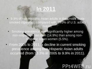 In 2011 9.9% of non-Hispanic Asian adults in the United State smoked cigarettes,