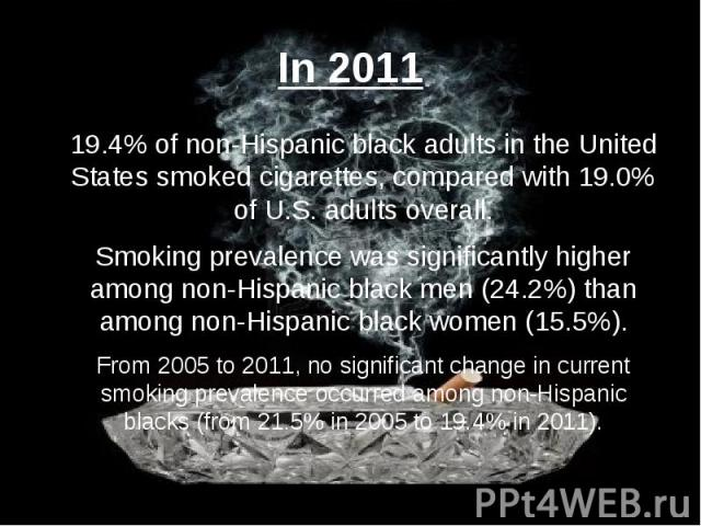 In 2011 19.4% of non-Hispanic black adults in the United States smoked cigarettes, compared with 19.0% of U.S. adults overall. Smoking prevalence was significantly higher among non-Hispanic black men (24.2%) than among non-Hispanic black women (15.5…