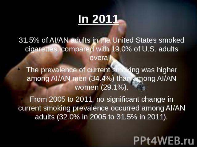 In 2011 31.5% of AI/AN adults in the United States smoked cigarettes, compared with 19.0% of U.S. adults overall. The prevalence of current smoking was higher among AI/AN men (34.4%) than among AI/AN women (29.1%). From 2005 to 2011, no significant …