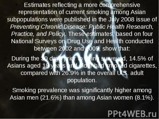 Estimates reflecting a more comprehensive representation of current smoking among Asian subpopulations were published in the July 2008 issue of Preventing Chronic Disease: Public Health Research, Practice, and Policy. These estimates, based on four …