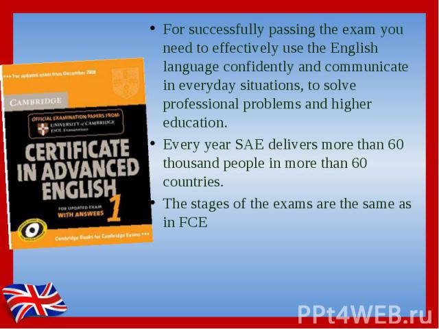 For successfully passing the exam you need to effectively use the English language confidently and communicate in everyday situations, to solve professional problems and higher education. For successfully passing the exam you need to effectively use…