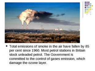 Total emissions of smoke in the air have fallen by 85 per cent since 1960. Most