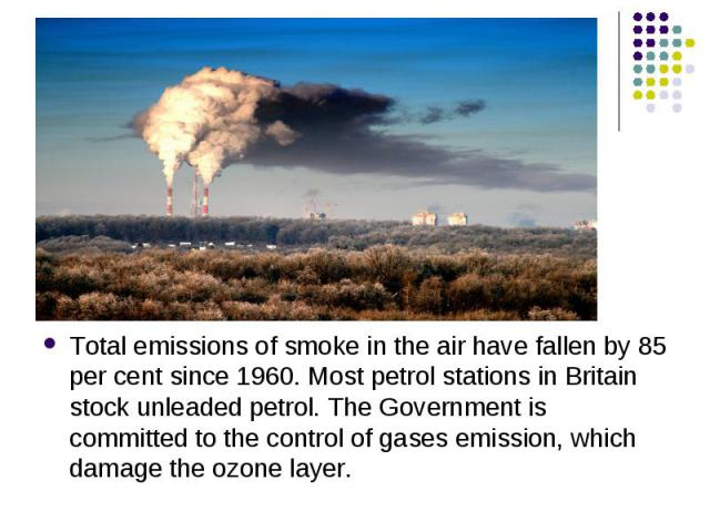 Total emissions of smoke in the air have fallen by 85 per cent since 1960. Most petrol stations in Britain stock unleaded petrol. The Government is committed to the control of gases emission, which damage the ozone layer. Total emissions of smoke in…