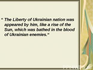 """"""" The Liberty of Ukrainian nation was appeared by him, like a rise of the Sun, w"""