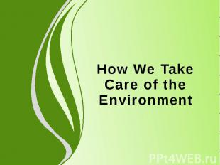 How We Take Care of the Environment