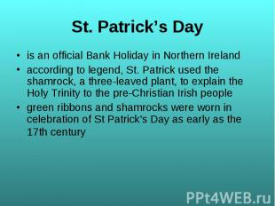 is an official Bank Holiday in Northern Ireland is an official Bank Holiday in N