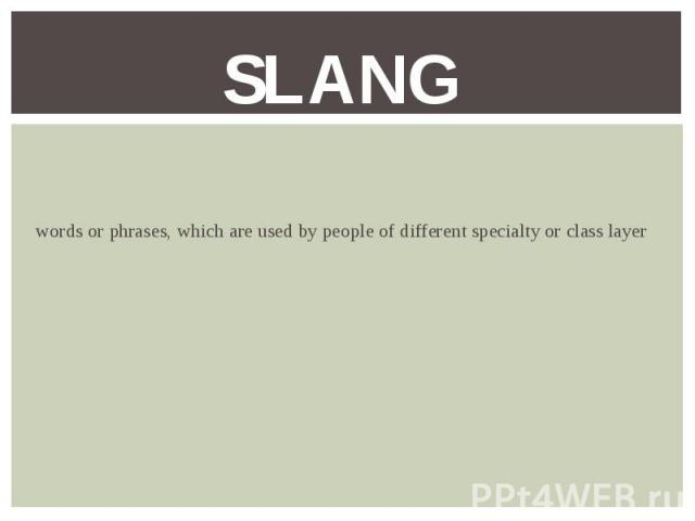words or phrases, which are used by people of different specialty or class layer