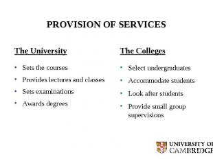 PROVISION OF SERVICES The University Sets the courses Provides lectures and clas