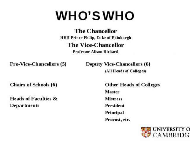 WHO'S WHO The Chancellor HRH Prince Philip, Duke of Edinburgh The Vice-Chancellor Professor Alison Richard Pro-Vice-Chancellors (5) Deputy Vice-Chancellors (6) (All Heads of Colleges) Chairs of Schools (6) Other Heads of Colleges Master Heads of Fac…