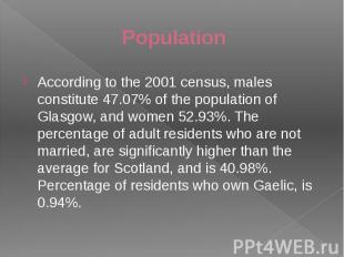 Population According to the 2001 census, males constitute 47.07% of the populati