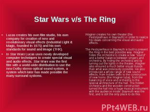 Star Wars v/s The Ring Lucas creates his own film studio, his own company for cr