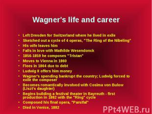 Wagner's life and career Left Dresden for Switzerland where he lived in exile Sk