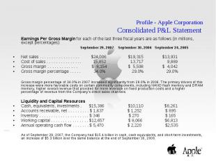 Profile - Apple Corporation Consolidated P&L Statement Earnings Per Gross Ma