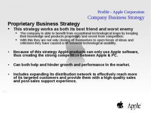 Profile - Apple Corporation Company Business Strategy Proprietary Business Strat