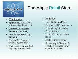 The Apple Retail Store Employees: Apple Specialist: Knows software, inside and o