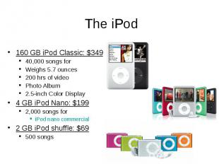 The iPod 160 GB iPod Classic: $349 40,000 songs for Weighs 5.7 ounces 200 hrs of
