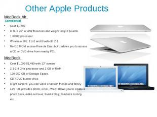 """Other Apple Products MacBook Air Commercial Cost $1,799 0.16-0.76"""" in total thic"""
