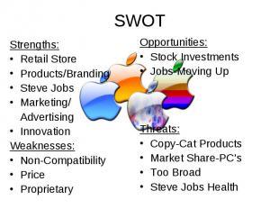SWOT Strengths: Retail Store Products/Branding Steve Jobs Marketing/ Advertising
