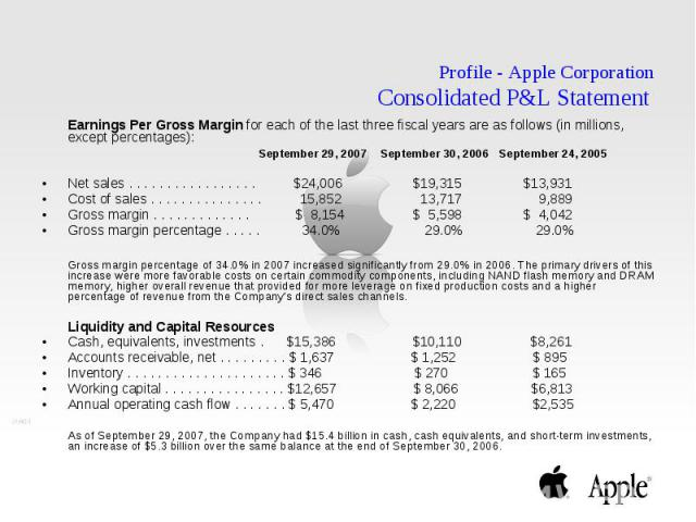 Profile - Apple Corporation Consolidated P&L Statement Earnings Per Gross Margin for each of the last three fiscal years are as follows (in millions, except percentages): September 29, 2007 September 30, 2006 September 24, 2005 Net sales . . . .…