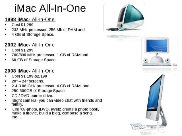 iMac All-In-One 1998 iMac- All-In-One Cost $1,299 233 MHz processor, 256 Mb of RAM and 4 GB of Storage Space. 2002 iMac- All-In-One Cost $1,299 700/800 MHz processor, 1 GB of RAM and 60 GB of Storage Space. 2008 iMac- All-In-One Cost $1,199-$2,199 2…