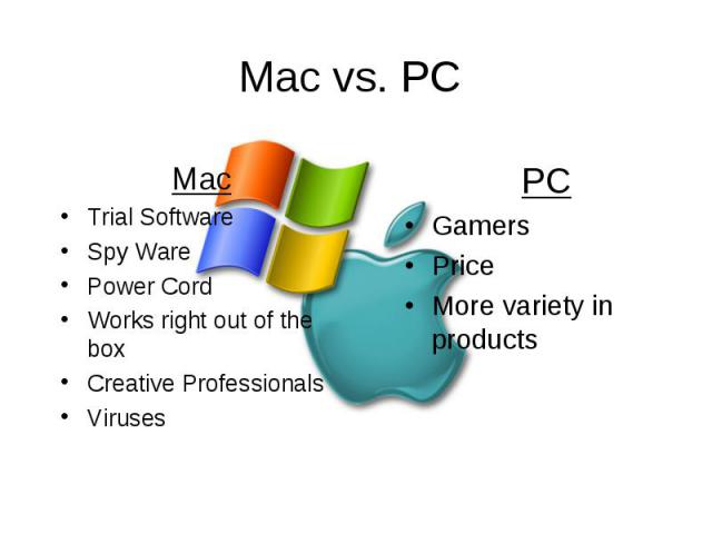 Mac vs. PC Mac Trial Software Spy Ware Power Cord Works right out of the box Creative Professionals Viruses