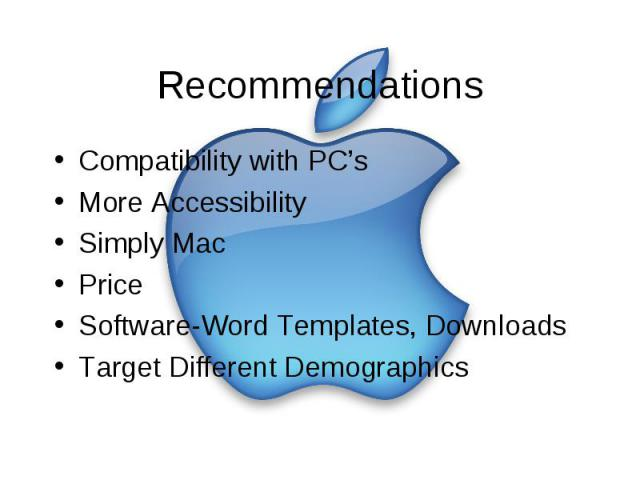 Recommendations Compatibility with PC's More Accessibility Simply Mac Price Software-Word Templates, Downloads Target Different Demographics