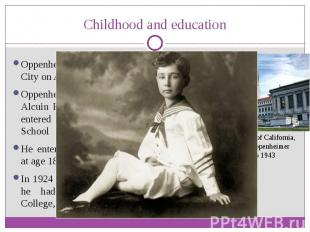 Childhood and education Oppenheimer was born in New York City on April 22, 1904