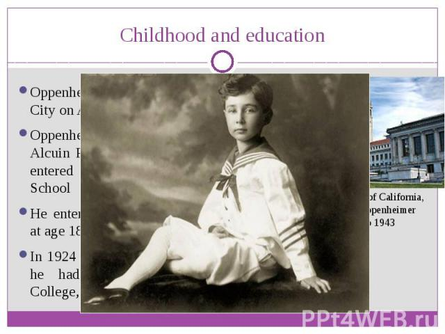 Childhood and education Oppenheimer was born in New York City on April 22, 1904 Oppenheimer was initially schooled at Alcuin Preparatory School, and in 1911 entered theEthical Culture Society School He enteredHarvard Collegea year …