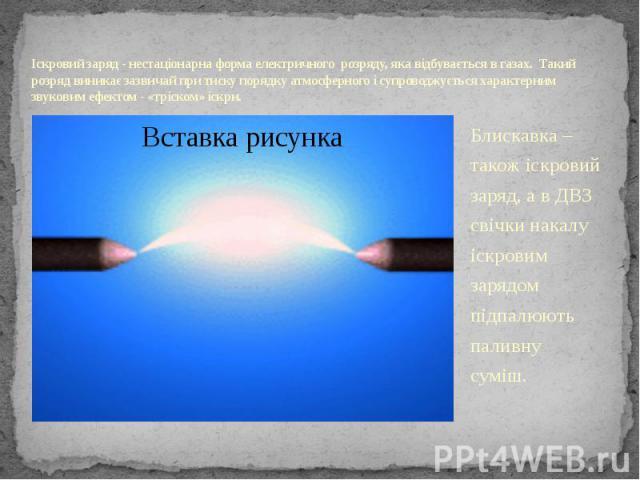 Іскровий заряд - нестаціонарна форма електричного розряду, яка відбувається в газах. Такий розряд виникає зазвичай при тиску порядку атмосферного і супроводжується характерним звуковим ефектом - «тріском» іскри. Блискавка – також іскровий заряд, а в…