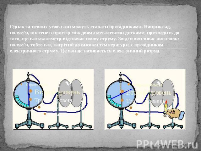 Однак за певних умов гази можуть ставати провідниками. Наприклад, полум'я, внесене в простір між двома металевими дисками, призводить до того, що гальванометр відзначає появу струму. Звідси випливає висновок: полум'я, тобто газ, нагрітий до високої …