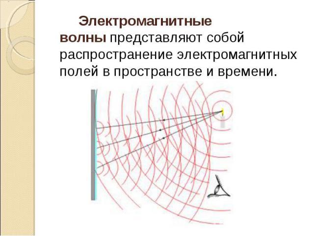 Электромагнитные волныпредставляют собой распространение электромагнитных полей в пространстве и времени. Электромагнитные волныпредставляют собой распространение электромагнитных полей в пространстве и времени.