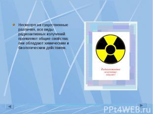 Несмотря на существенные различия, все виды радиоактивных излучений проявляют об
