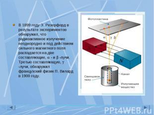 В 1899 году Э. Резерфорд в результате экспериментов обнаружил, что радиоактивное