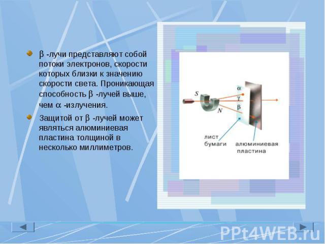 -лучи представляют собой потоки электронов, скорости которых близки к значению скорости света. Проникающая способность -лучей выше, чем -излучения. -лучи представляют собой потоки электронов, скорости которых близки к значению скорости света. Проник…