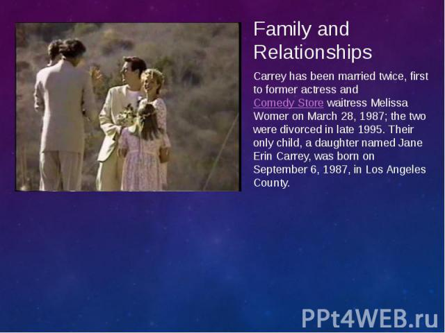 Family and Relationships Family and Relationships Carrey has been married twice, first to former actress andComedy Storewaitress Melissa Womer on March 28, 1987; the two were divorced in late 1995. Their only child, a daughter named Jane…