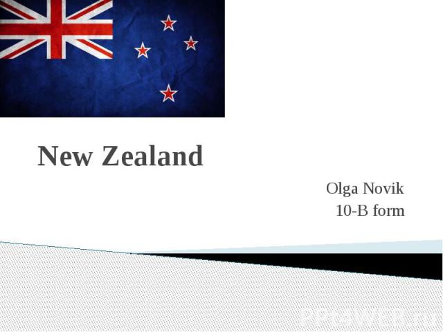 New Zealand Olga Novik 10-B form